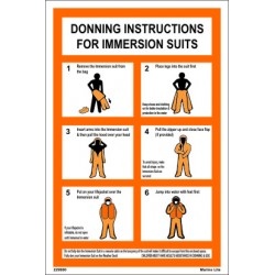 Póster IMMERSION SUIT DONNING INSTRUCTION (30x20cm) White Vin. IMO ...